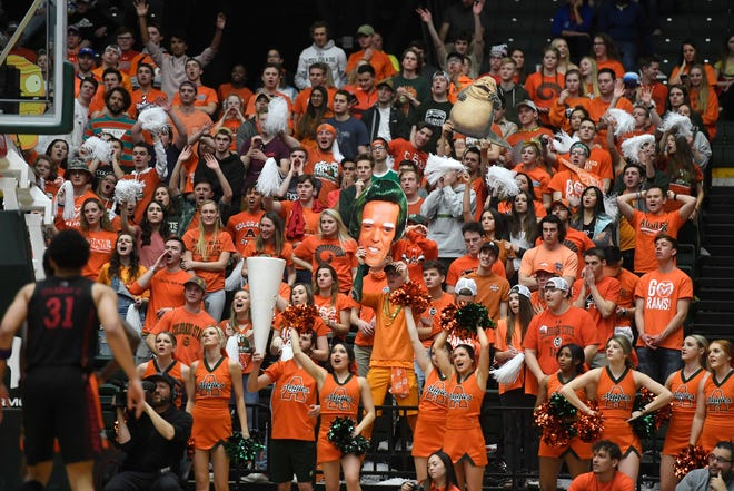 Colorado State fans cheer as the UNLV Rebels shoot a free throw in the second half of the game against the UNLV Rebels at Moby Arena at Colorado State University in Fort Collins, Colo. on Saturday, February 1, 2020.