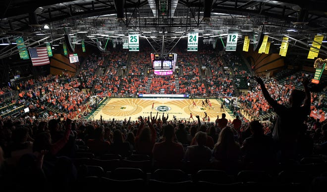 Colorado State fans cheer during the first half of the game against the UNLV Rebels at Moby Arena at Colorado State University in Fort Collins, Colo. on Saturday, February 1, 2020.