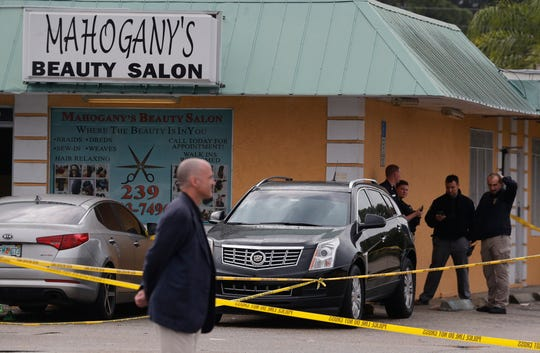 Fort Myers Police department and Florida Department of Law Enforcement are on the scene of a shooting at Mahogany's Beauty Salon on the corner of Fowler Street and Hunter Street. Part of Fowler Street and near by side streets are blocked off with crime scene tape. Police markers can also be seen by what looks like shell casings and a firearm, among other items. Two people were transported to the hospital with injuries.