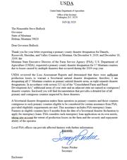 Here is the Jan. 31 letter from Agriculture Secretary Sonny Perdue to Gov. Steve Bullock.