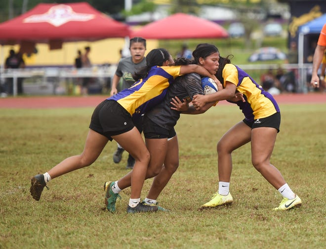 The George Washington Geckos defeated the Tiyan Titans 33-0 in Guam Rugby Football Union/Interscholastic Sports Association High School Rugby at their home field, Mangilao Feb. 1.