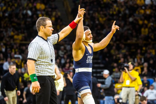 Penn State freshman Aaron Brooks won a Big Ten title at 184 pounds but will not be able to go for a national championship with his teammates. All Big Ten winter and spring sports have been cancelled because of the COVID-19 outbreak.