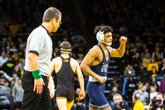 Penn State's Roman Bravo-Young reacts after winning by injury default against Austin DeSanto at 133 pounds during a NCAA Big Ten Conference wrestling dual, Friday, Jan. 31, 2020, at Carver-Hawkeye Arena in Iowa City, Iowa.
