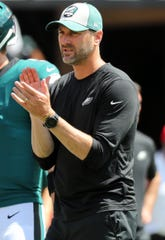 Sep 16, 2018; Tampa, FL, USA; Philadelphia Eagles offensive coordinator Mike Groh prior to the game at Raymond James Stadium.
