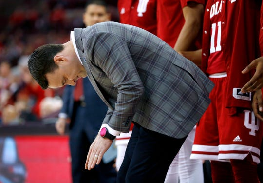 Indiana coach Archie Miller reacts during the first half against the Ohio State Buckeyes at Value City Arena.