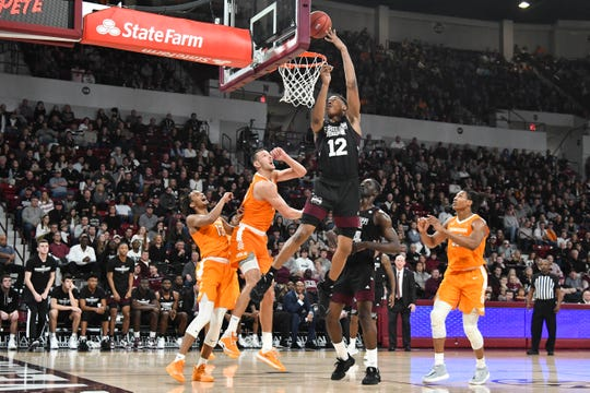 Mississippi State guard Robert Woodard II (12) goes up for a shot against the Tennessee Volunteers during the second half at Humphrey Coliseum on Feb. 1, 2020 in Starkville, Mississippi.
