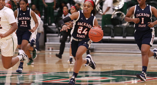 Jackson State Junior guard Dayzsha Rogan looks to pass in Jackson State's 90-61 win over Mississippi Valley State.