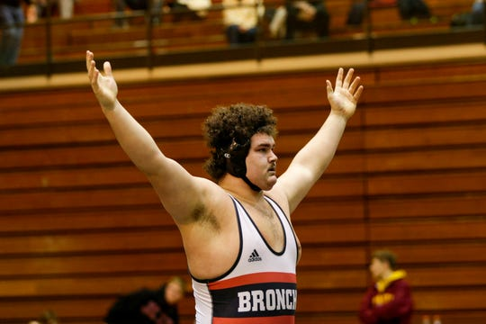 Lafayette Jeff's Kayden Sowders reacts after defeating McCutcheon's Mason Toth during a 285 pound championship bout in an IHSAA sectional wrestling match, Saturday, Feb. 1, 2020 Lafayette.