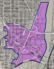 The boundaries of a proposed West Lafayette Downtown Plan include the Village area near Purdue and a Riverfront district that includes Levee Plaza, River Market and Wabash Landing.