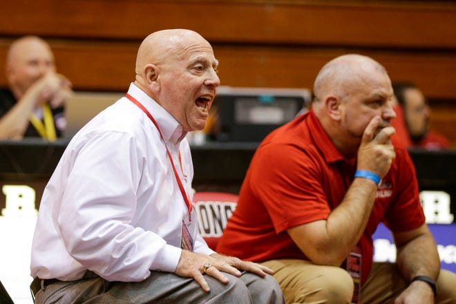 Lafayette Jeff head coach Tom Miller reacts as Lafayette Jeff's Jacob Raub wrestles Harrison's William Crider during a 220 pound championship bout in an IHSAA sectional wrestling match, Saturday, Feb. 1, 2020 Lafayette.