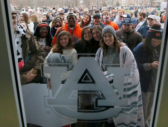 Auburn students wait for the doors to open for the ESPN College GameDay before the game against at Auburn Arena on Feb. 1, 2020.