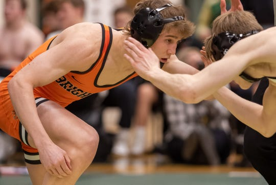 Mason Shrader was one of eight Brighton wrestlers who beat state-ranked opponents in a victory over Lowell.