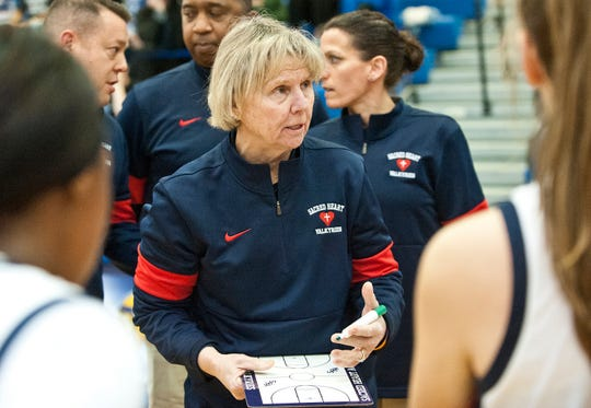 Sacred Heart head basketball coach Donna Moir talks to her players during a time-out in the semifinal game of the Girls Louisville Invitational Tournament at Valley H.S.Feb. 01,  2020