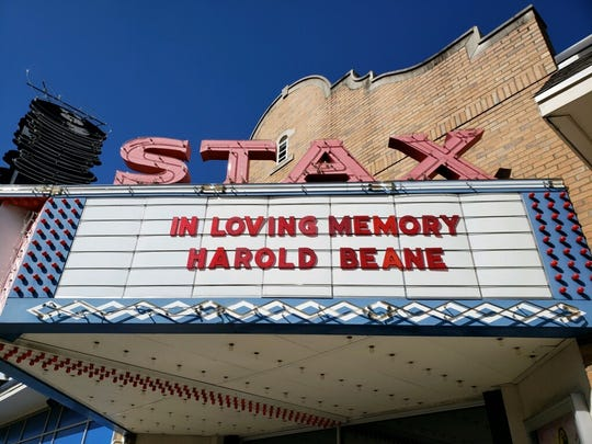 The marquee of the Stax Museum in Memphis, Tenn., pays tribute to the late Harold Beane.