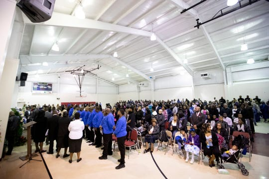 Hundreds pack the gymnasium to mourn the loss of LeQuan Boyd and Ashlynn Luckett on Saturday during a funeral service at LaGoshen Missionary Baptist Church in Moscow.