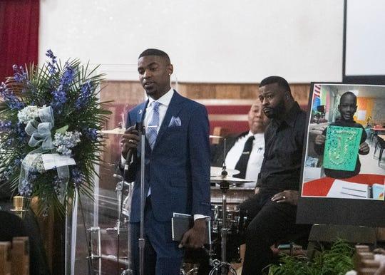 Former Hanley Elementary School teacher Earl Wilson speaks of his memories with Jadon Knox during a memorial service on Saturday.