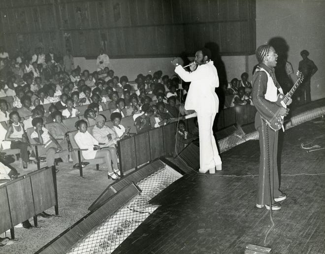 Harold Beane, with guitar, backs William Bell, in the early-'70s on tour in Africa.