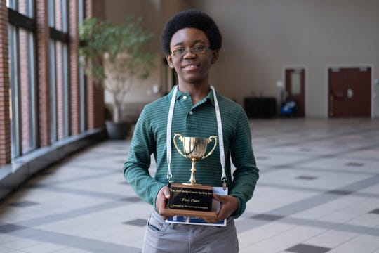 Lausanne Collegiate School eighth grader William Carter, 13, won first place in the 2020 Shelby County Spelling Bee on Saturday.