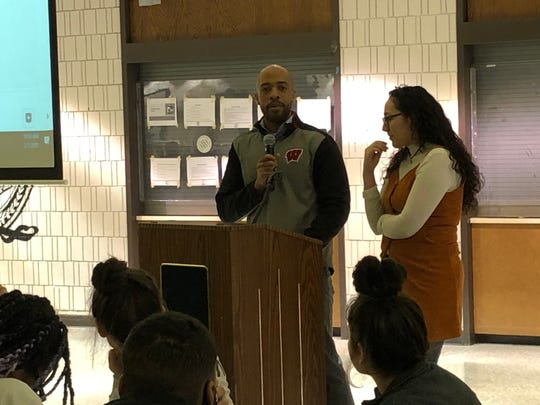 Lt. Gov. Mandela Barnes speaks at South Division High School on Saturday. Barnes spoke to a group of mostly Latino residents about the importance of organizing and voting.