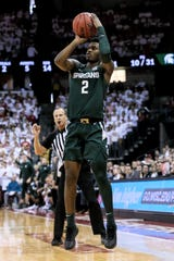 MADISON, WISCONSIN - FEBRUARY 01: Rocket Watts #2 of the Michigan State Spartans attempts a shot in the first half against the Wisconsin Badgers at the Kohl Center on February 01, 2020 in Madison, Wisconsin. (Photo by Dylan Buell/Getty Images)
