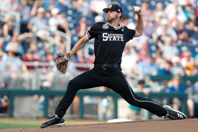 Mississippi State pitcher Ethan Small throws against Auburn in the first inning on Jun 16, 2019.
