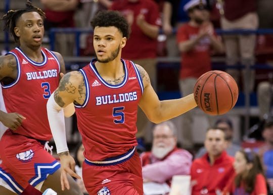 Louisiana Tech's Kalob Ledoux (5) and Amorie Archibald (3) bring the ball back down court during the game against Old Dominion University at Thomas Assembly Center in Ruston, La. on Feb. 1.