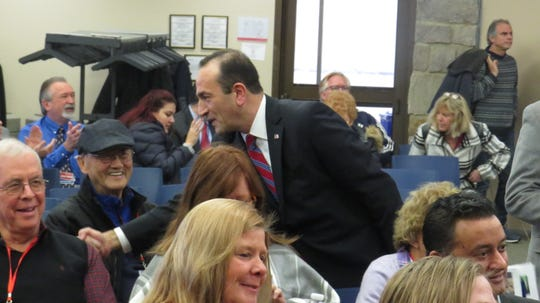 Tayfyn Selen thanks his supporters as the Morris County Republican Committee convened to elect Tayfun Selen to fill an open seat on the Morris County Board of Chosen Freeholders at County College of Morris in Randolph. Feb. 1, 2020.