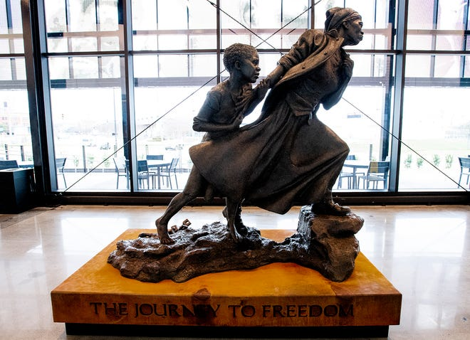The new Harriet Tubman statue at the EJI Legacy Pavilion  in Montgomery, Ala., on Saturday February 1, 2020.