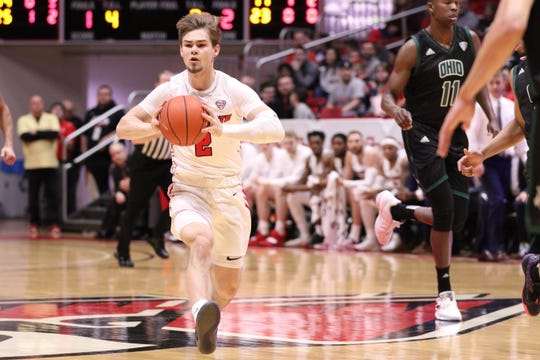 Ball State freshman guard Luke Bumbalough competes for the Cardinals during their game Saturday. BSU beat Ohio.