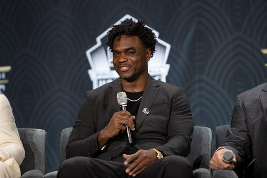Edgerrin James speaks during a press conference after being selected to join the Football Hall of Fame, Saturday, Feb. 1, 2020, at the Adrienne Arsht Center for the Performing Arts in Miami.