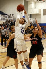 Carlsbad's Allie Myers goes for a layup against Roswell on Jan. 31, 2020. Myers led all scorers with 18 points. Carlsbad won, 42-17.