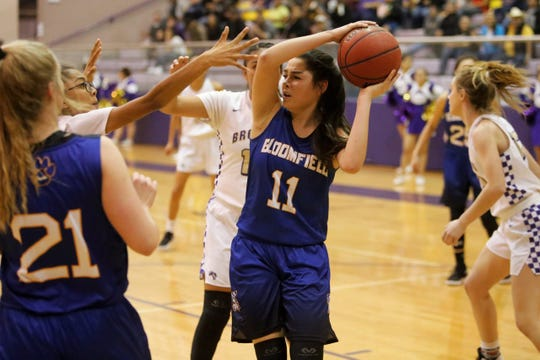 Bloomfield's Lanay Gutierrez, seen here during the District 1-4A tournament semifinals on Wednesday, Feb. 27, 2019, at Kirtland Central, looks to return to the playoffs this season. The Lady Bobcats already has key wins over 4A powers Goddard and Gallup.