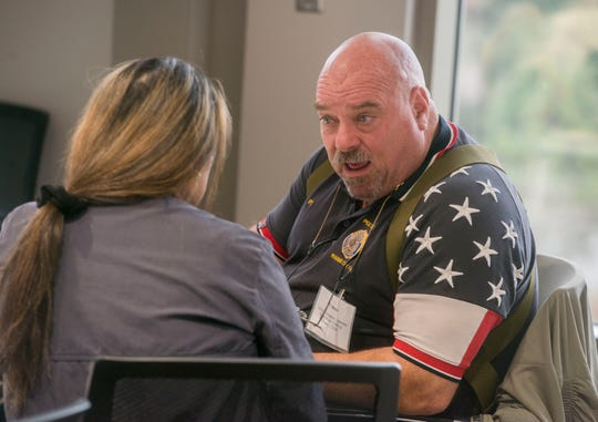 Veterans practice their interview skills Saturday, Feb. 1, 2020, during the Library of Congress Veterans History Project Training at the Institute for Human and Machine Cognition. The initiative is to preserve veterans' unique experiences and document their stories for future generations.