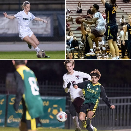 Navarre's Hailey Bastian (top left), Tate's Love Bettis (top right) and Catholic's Darren Bredesen (bottom) are among this week's nominees for PNJ Athlete of the Week.