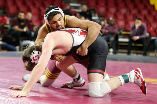 ASU's Zahid Valencia dominates and gets a major decision over Stanford's Nick Addison in their 184lb match at Desert Financial Arena in Tempe Jan 31, 2020. (Darryl Webb/For the Republic)