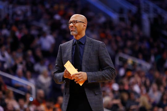 Suns' head coach Monty Williams reacts to the team losing the lead against Oklahoma City during the first half at the Talking Stick Resort Arena in Phoenix, Ariz. on January 31, 2020.