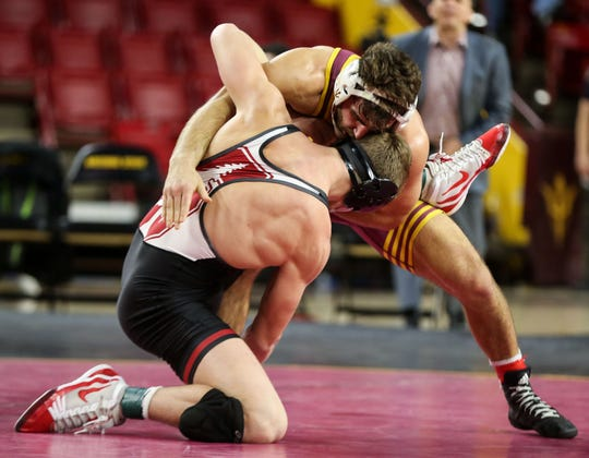 ASU's Joshua Shields battles with Stanford's 	