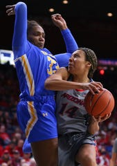 Arizona forward Sam Thomas (14) drives into UCLA forward Lauryn Miller (33) on her way to the basket during an NCAA college basketball game Friday, Jan. 31, 2020, in Tucson, Ariz. (Josh Galemore/Arizona Daily Star via AP)