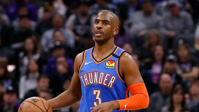 Oklahoma City Thunder guard Chris Paul during the first quarter of an NBA basketball game against the Sacramento Kings in Sacramento, Calif., Wednesday, Jan. 29, 2020. The Thunder won 120-100.