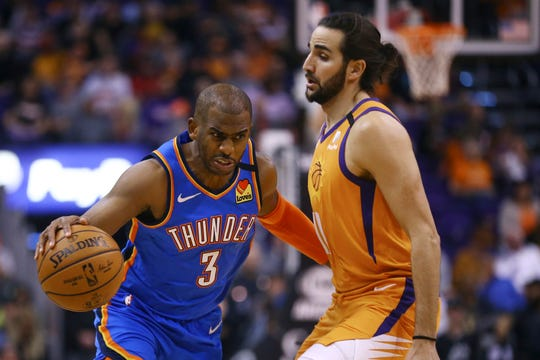 Oklahoma City Thunder guard Chris Paul (3) dribbles past Phoenix Suns guard Ricky Rubio, right, during the first half of an NBA basketball game Friday, Jan. 31, 2020, in Phoenix. The Thunder defeated the Suns 111-107. (AP Photo/Ross D. Franklin)