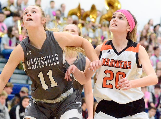 Marysville's Gabby Fogarty boxes out Marine City's Khloe Austin during a Macomb Area Conference-Gold girls basketball game on Friday, Jan. 31, 2020, at Marysville.