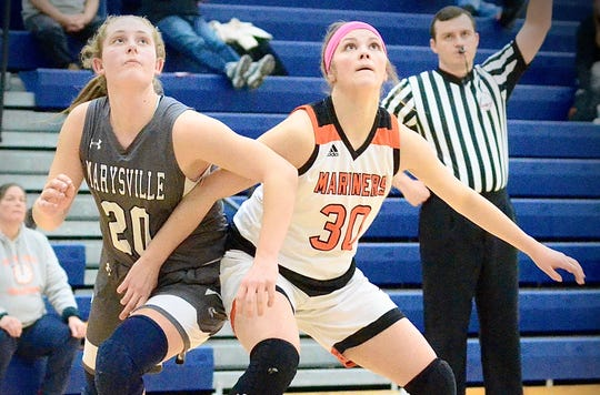 Marysville's Kaitlyn Cain fights Marine City's Avery Osterland for a rebound during a Macomb Area Conference-Gold girls basketball game on Friday, Jan. 31, 2020, at Marysville.