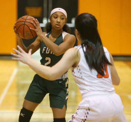 FDR's Deliah Smith looks to pass the ball way from Marlboro's Briana Bernicker during Friday's game on January 31, 2020.