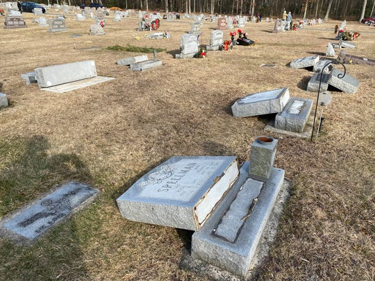 More than 90 tombstones at Strang Cemetery in Quincy Township were found damaged early on Friday, Jan. 31.