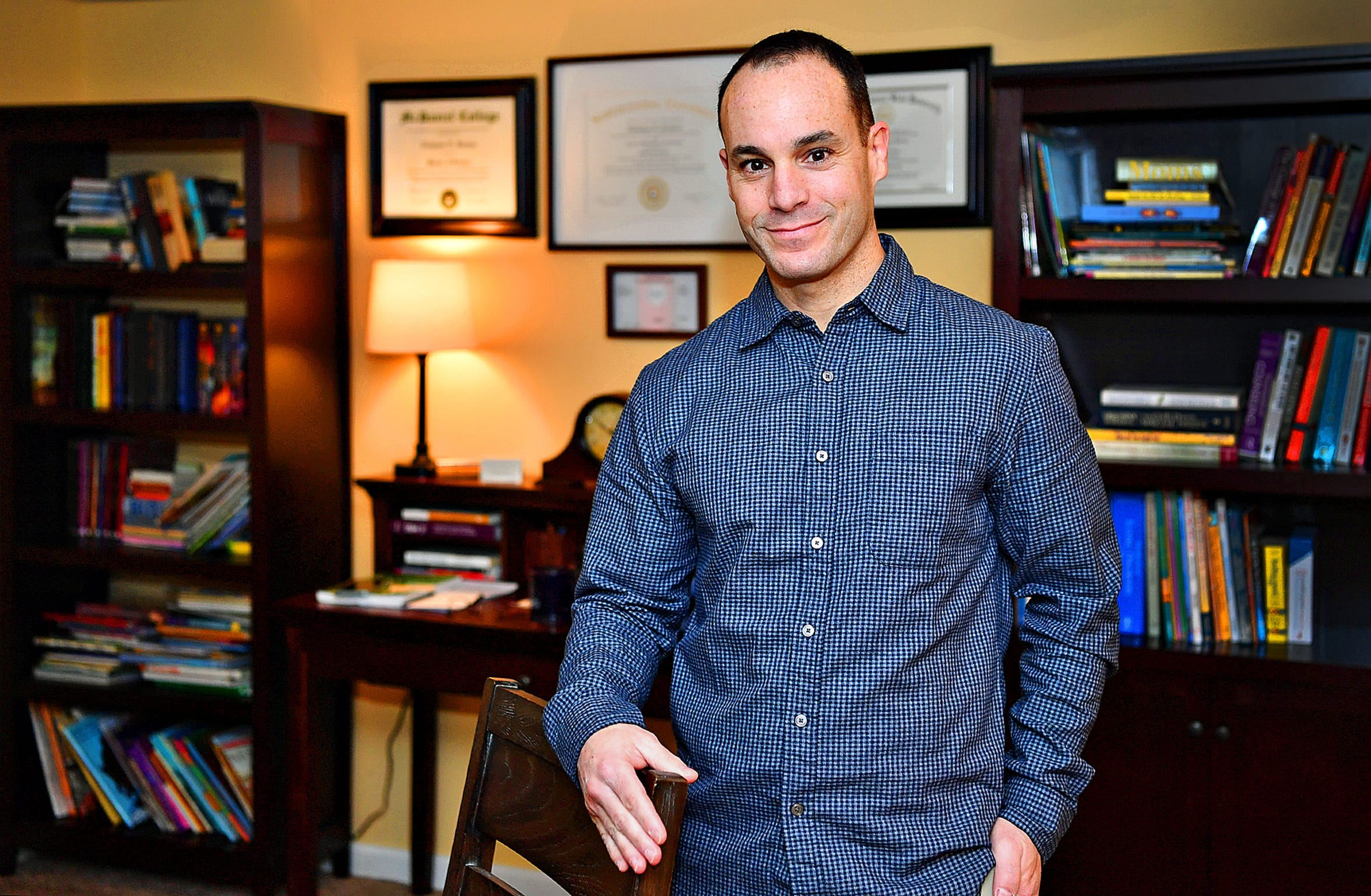Sports psychologist Nicholas Kenien, PhD., is shown in his home office in Spring Garden Township, Saturday, Feb. 1, 2020. Kenien, of Kenien Counceling, LLC, is a Licensed Professional Counselor and Nationally Certified School Psychologist. Dawn J. Sagert photo