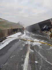 Crews worked throughout the day Saturday to clean up after a crash and fire on Interstate 83.