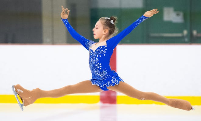 Melania Blecic jumps into the air during the Keystone State Games Figure Skating Championships at the York Ice Arena, February 1, 2020.