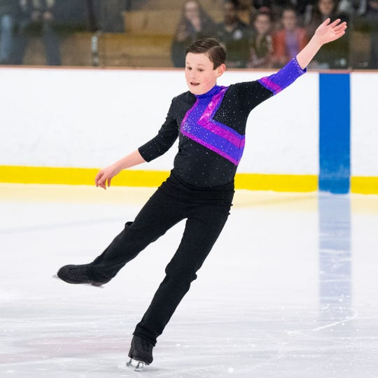 Evan Bertz competes during the Keystone State Games Figure Skating Championships at the York Ice Arena, February 1, 2020.