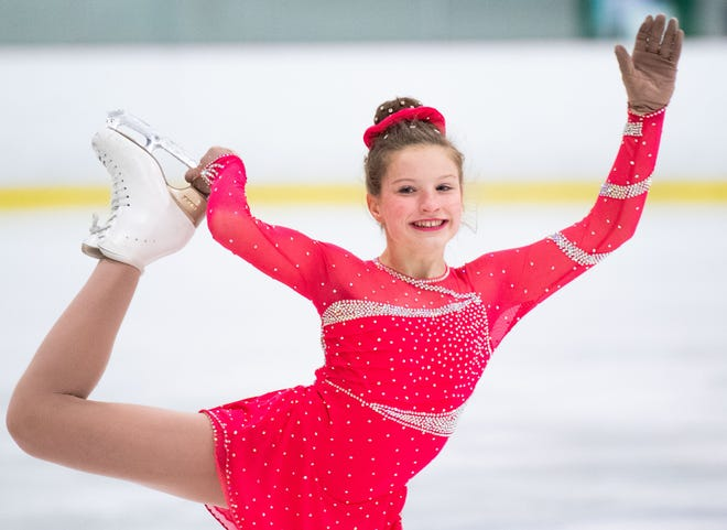 Hannah Burnet is all smiles during the Keystone State Games Figure Skating Championships at the York Ice Arena, February 1, 2020.