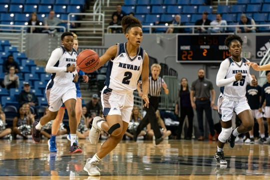 Nevada's Da'ja Hamilton brings the ball up against Boise State on Saturday afternoon.